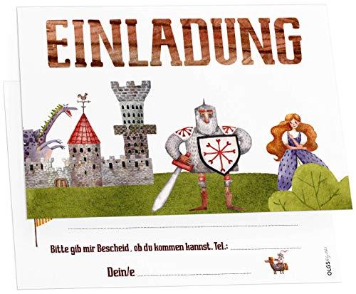 12 Ritter Einladungskarten inkl. Umschläge perfekte Einladung zum Kindergeburtstag oder Kinder Party | Geburtstag-Einladungen zum ausfüllen