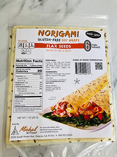 Norigami Egg Wraps Soy Protein-High Protein, Low Carb, Vegetarian Thin Healthy Wrap for Sandwiches-Ready To Fill And Serve-Certified Kosher, Non GMO, Gluten Free-6 Wraps-Soy Flax Seeds (1 Pack)