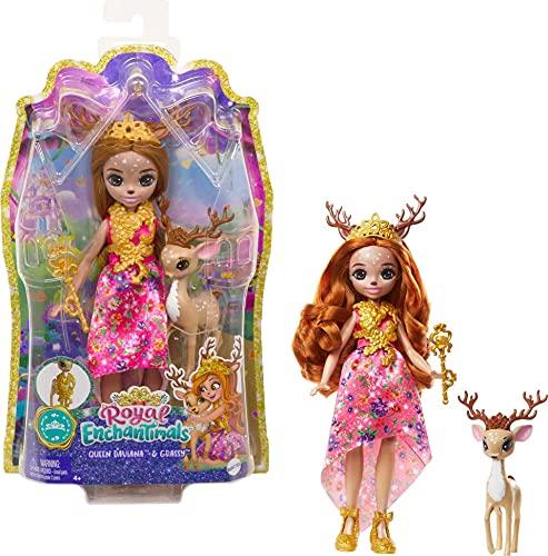 Royal Enchantimals Reina Daviana y Grassy, muñeca ciervo con cervatillo...