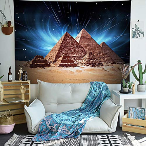 N/A Impresión 3D De Cinta Tapiz De Pirámide Egipto Viaje Cielo Estrellado Arte Tapices para Colgar En La Pared para La Decoración del Dormitorio del Hogar De La Sala De Estar