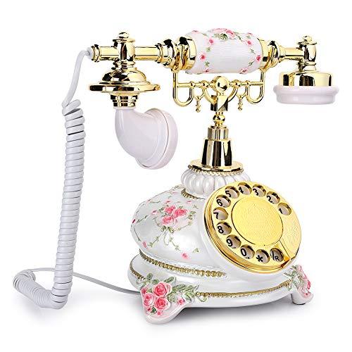 Pusokei Téléphone Rotatif, téléphone Fixe Vintage combiné téléphone Ancien téléphone Fixe rétro Filaire pour la Maison, Peut Recomposer et Faire pivoter Les Cadrans