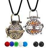 Lava Stone Aromatherapy Essential Oil Diffuser Necklace 2 Garden Style Pendant Locket with a 24' Wax...