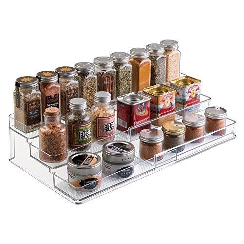 mDesign Especiero extensible de plástico - Estante para especias y condimentos - Ideal accesorio de cocina para organizar especias - Especiero con 3 niveles - transparente