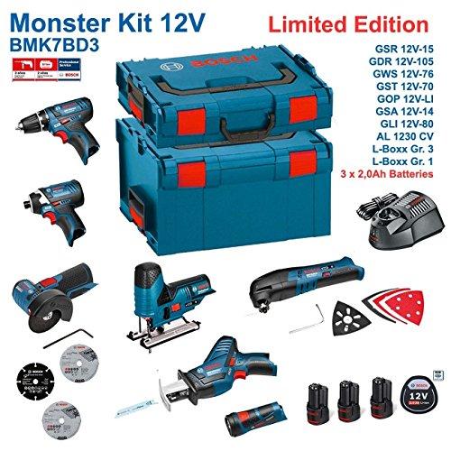 BOSCH Kit 12V BMK7BD3 (GSR 12V-15 + GDR 12V-105 + GWS 12V-76 + GST 12V-70 + GOP 12V-LI + GSA 12V-14 + GLI 12V-80 + 3 x 2,0Ah + AL1230CV + L-Boxx 238 + L-Boxx 102)