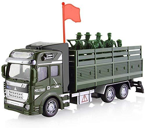 Ladan Camion Militare, Metallo della Lega Model Car, Semi-carico Camion, Veicoli Giocattoli Torna Forza Die Casting Gift Set Boy Set Soldato Trasporti Auto for Bambini