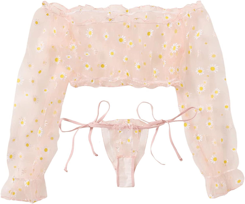 Daily Courier shipping free shipping bargain sale SweatyRocks Women's Sheer Mesh Long Sleeve Thong Top Crop 2 and