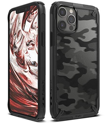 Ringke Fusion-X DDP Kompatibel mit iPhone 12 Pro Hülle, Kompatibel mit iPhone 12 Hülle Handschlaufe Loch im Rand mit Kratzfest Fingerabdruckfest 3D Militär Muster - Camo Black Schwarz