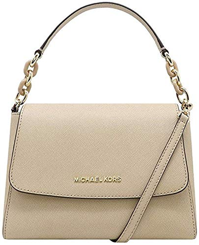 "Saffiano Leather, Chain straps with 6"" drop; Comes with detachable and adjustable shoulder straps Single Top handle with turtle chain detail in gold; Magnetic snap flap top closure Interior : 2 main compartments, zipped compartment in middle, 1 slip ..."