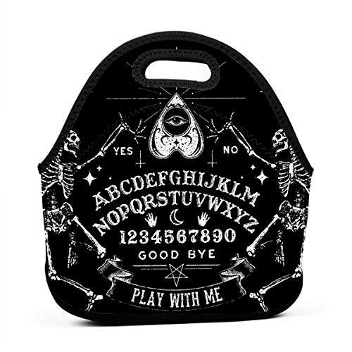 NiYoung Lunch Bag Vintage Skeleton Magic Ouija Board Black Gourmet Lunchbox Container for Adults/Men/Women, Work/School/Meal Prep Lunch Container Compact Totebag Portable Drinks Holder