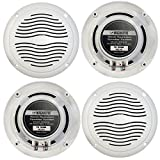 """2 Pairs of Magnadyne WR45W 5"""" Inch Waterproof Marine, Boat, Hot Tub, Outdoor Speaker with Integrated Plastic Grill - White"""