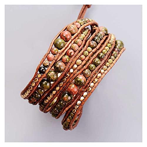 JIAH Pulseras Nuevas Piedras Naturales graduadas con Perlas de Oro 5 Strands Weave Wrap Wrap Pulsera múltiples Pulseras Vintage