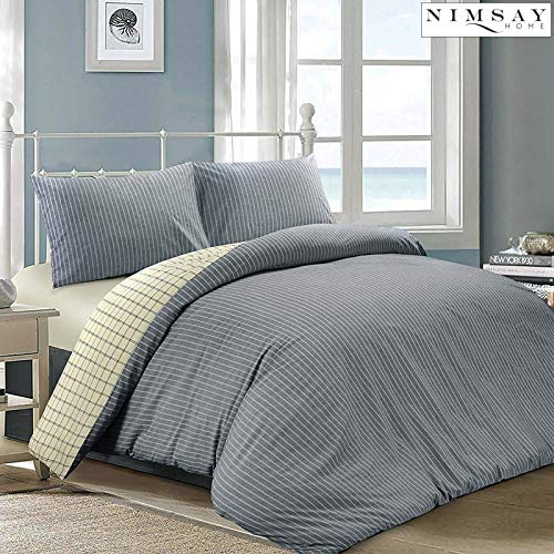 Nimsay Home Jakarta Woven Chambray Striped and Check 100% Cotton Reversible Duvet Cover Set Blue & Cream (King Duvet Cover Set)