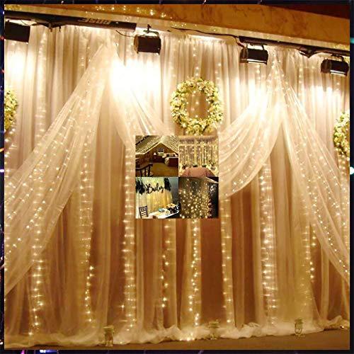 String Lights, 3x3 Led EiszapfenVorhänge,Lichterketten 300 Led Weihnachtsbeleuchtung,FürZu Hause Fenster Party Dekoration White (Color : Warm color)