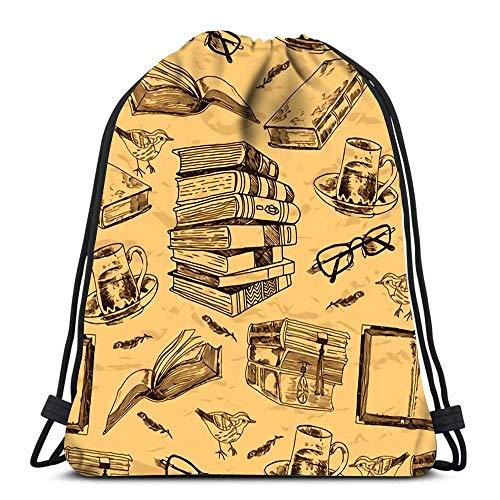 N / A Mochila con cordón Vintage Books Sketch con Pluma de...