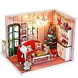 Zerodis 3D Holz Weihnachtshaus Modell Kit DIY Miniatur Puppenhaus Handwerk Puppenhaus Möbel Kit mit...