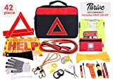 Thrive Roadside Assistance Auto Emergency Kit + First Aid Kit ? Square Bag