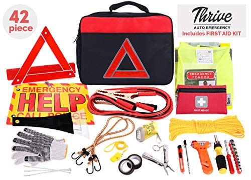 Thrive Roadside Assistance Auto Emergency Kit + Car First Aid Kit – Square Bag - Contains Jumper Cables, Tools, Reflective Safety Triangle & More Perfect Winter Accessory for Your Car, Truck, Camper