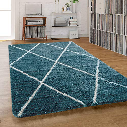 Paco Home Teppich Wohnzimmer, Schlafzimmer/Hochflor Shaggy in versch. Designs Farben und Größen, Grösse:120x160 cm, Farbe:Türkis