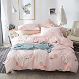 FenDie Fruits Pattern Cotton Girls Duvet Cover Set Pink Reversible Grid Bedding Set Twin Kids Peach Printed Quilt Duvet Cover with 2 Pillowcases Lightweight Without Comforter