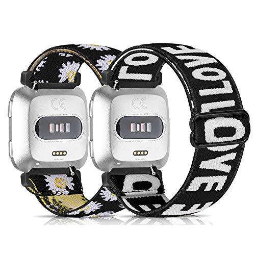 URU Shield Elastic Bands Compatible for Fitbit Versa/Versa 2/Versa Lite, Soft Fabric Nylon Adjustable Breathable Sport Replacement Women&Men Band for Versa Smartwatch(2 Pack)