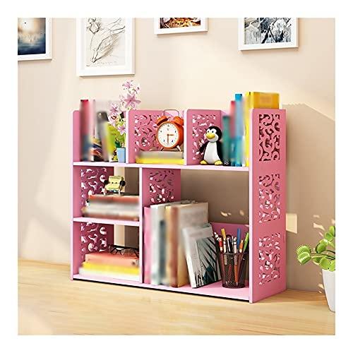 Dongxiao Estantería pequeña para encimera, organizador de 6 compartimentos para suministros de oficina en casa, color rosa