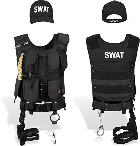 normani SWAT Einsatz Kostüm inkl. taktischer Weste mit Patch, Holster, Handschellen und Baseball Cap Größe XS/Rechts