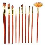 10 piezas de Nylon para el cabello y madera, acuarela, cepillo de pintura, gouache, pluma, artículos de arte