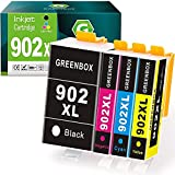 GREENBOX Compatible Ink Cartridges Replacement for HP 902XL 902 XL for Hp OfficeJet Pro 6978 6968 6958 6962 6960 6970 6979 6950 6951 6954 6975 Printer (1 Black 1 Cyan 1 Magenta 1 Yellow)