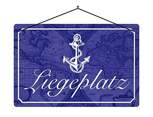 Metalen bord spreuk ligplaats anker zeil boot metalen bord decoratie met koord 20x30