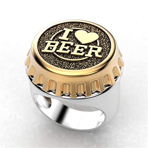 QAZXCV Mode Creative Design Ich Liebe Bier Ring Zweifarbige Bier Cover Punk Herren Hip Hop Stil Vatertag Freund Jubiläumsgeschenk,B,8
