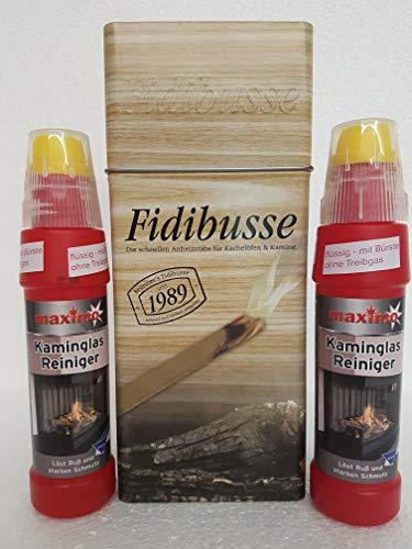 Fidibusse Brunner Geschenkdose 50 Stück Ofenanzünder Grillanzünder Anzünder + Kaminglas Reiniger Gel mit Bürste, 2 Flaschen á 200ml