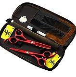 ZWJ-JJ 5.5' del color rojo del corte del peluquero Tijeras Set de peluquería, maquinilla de afeitar de corte de tijera y adelgazamiento por corte de pelo tijeras Conjunto
