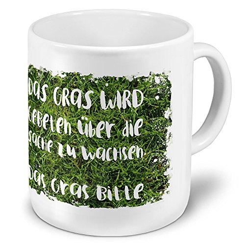 printplanet XXL Riesen-Tasse mit Spruch: Das Gras Wird gebeten über die Sache zu wachsen. - Kaffeebecher, Sprüchebecher Becher, Mug