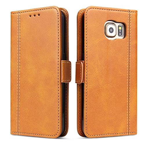 Bozon Galaxy S6 Hülle, Leder Tasche Handyhülle Flip Wallet Schutzhülle für Samsung Galaxy S6 mit Ständer und Kartenfächer/Magnetverschluss (Braun)