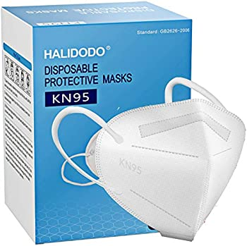 50-Pack Halidodo 5-Plyers Protective Cup KN95 Face Masks
