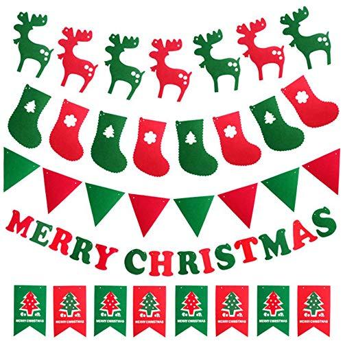 Xinlie Merry Christmas Dibujo Animado Papá Noel Navidad Adornos Banner Carta Guirnalda Navideña Roja para Colgar Banderines Navideños en Rojo Bandera de Feliz Navidad Banner Colgante (5 Piezas)