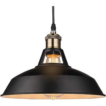 "B2ocled Retro Industrial Black Pendant Lighting,Barn Farmhouse Pendant Light E26/E27 Base for Kitchen Island, Metal Aluminum Shade Ceiling Hanging Lights (Black Out & White Inside, 12"")"