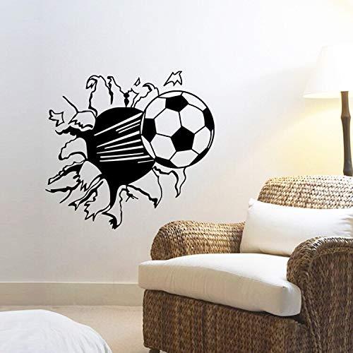 Fútbol tallado creativo roto DIY vinilo calcomanía para habitación de niños decoración de sala de estar fútbol deportes pared pegatina papel tapiz cartel niño regalo