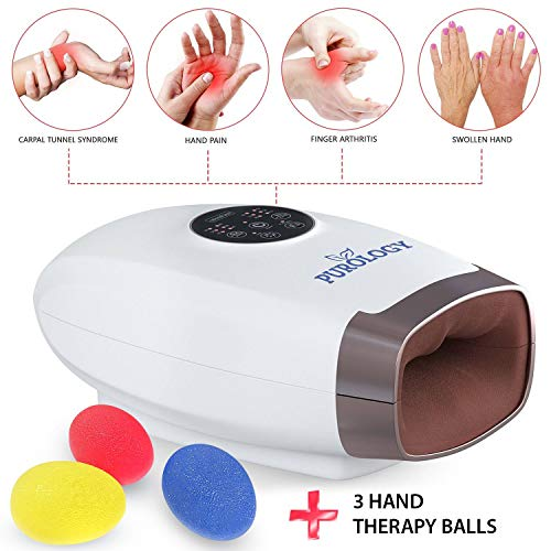 Purology LX Hand Massager Pressure Point Acupressure Compression Therapy Reflexology with Heat for Arthritis Wrist Carpal Tunnel Syndrome Tendonitis Trigger Finger Pain Cordless | 3 Hand Therapy Balls