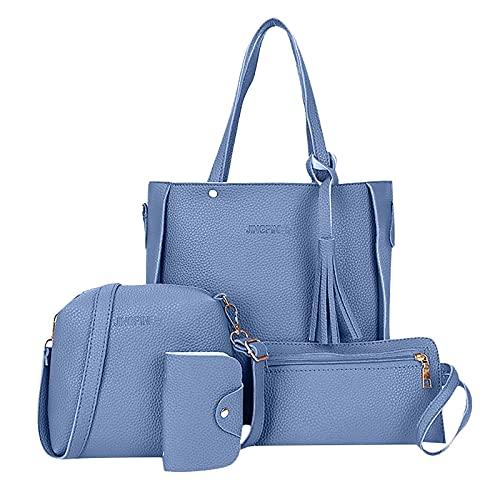 XOXSION 2021 Bolso de mano para mujer, juego de 4 bolsos de mano, bolso de piel, bolso bandolera, monedero, tarjetero, bolsa de la compra, bolsa de regalo A Marine 6 1/2 HS