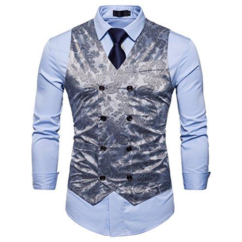 Showu Uomo Classic Paisley Gilet vestito della maglia Set Doppio Petto Vestibilità slim cerimonia nuziale Convenzionale Affari Vest XL Grigio