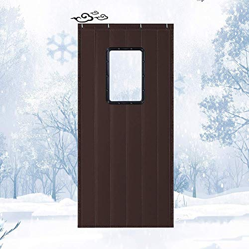 Cortina de Puerta de Aislamiento térmico con Ventana Tela Oxford Proteger el Calor Bloque de Entrada Bloque de Entrada Panel frío (Color: Marrón Oscuro, Tamaño: 120cmx230cm)