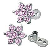 ZeSen Jewelry 14 g de Flores circonio cúbico dérmica Ancla Parte Superior y Base de Acero quirúrgico Microdermals Perforaciones del Cuerpo (2) Rosado