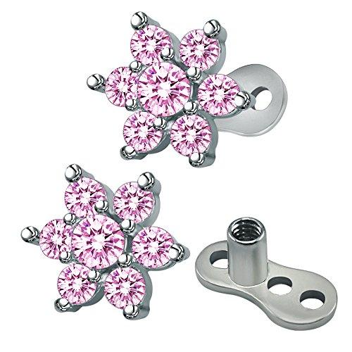 ZeSen Jewelry Cubic 14g Blumen Zirconia Dermal Anchor Oberseiten und Boden chirurgischem Stahl Microdermals Körper Piercings (2) Rosa