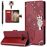 ikasus Galaxy Note 8 Case,Galaxy Note 8 Cover, Bling Diamonds Glitter Embossing Mandala Owl PU Leather Fold Wallet Flip Stand Protective Case Cover + Dust Plug & Stylus for Samsung Galaxy Note 8,Red