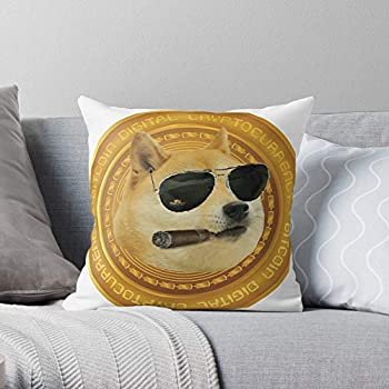 Cryptocurrency Musk Elon Doge Dog Tesla Bitcoin Crypto Snoop Dogecoin - Elon Musk - The Most Impressive Printed Square Throw Pillow case for Home and car Sofa Decoration - Customize
