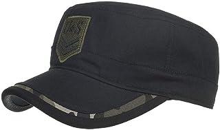 Gorras de algodón Lavado Caps Militares Cadete Diseño único Vintage Tapa Plana Gorra béisbol Estilo Polo Clásico Deportivo Casual Liso Sombrero Suave Transpirable Suave