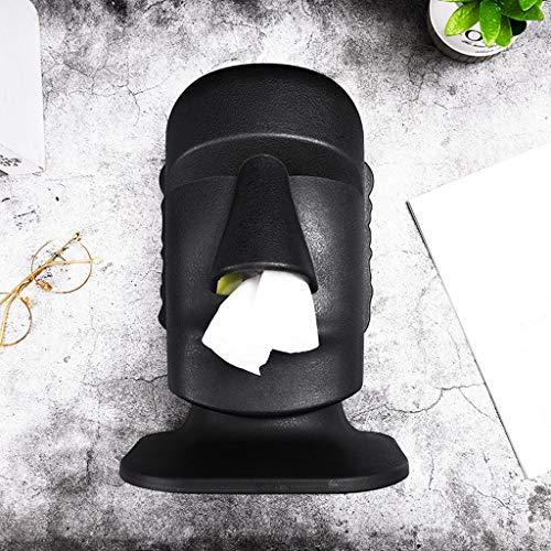 YLSH Decoración para el hogar Creative American Nostril Tissue Box Estatua Moai Bandeja de cajón de oficina Mesa de café Cajón de papel de escritorio de regalo (Color: Negro)