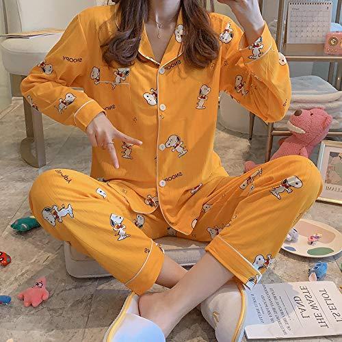B/H Toalla Albornoces Super Suave,Pijamas de Mujer de Talla Grande de otoño e Invierno, Traje de Dos Piezas de Servicio a Domicilio de Dibujos Animados-1_M