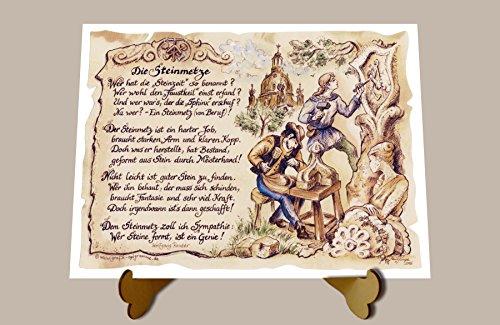 Geschenk Steinmetz Bildhauer Gedicht Zeichnung Color 30 x 21 cm mit Aufsteller